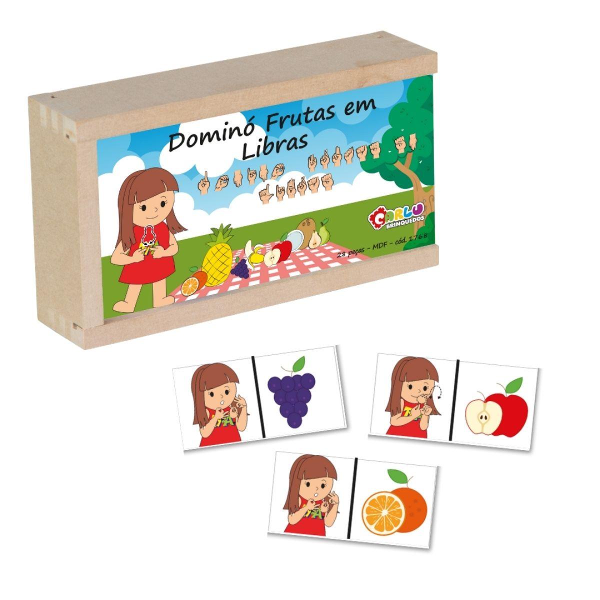 Brinquedo Educativo Domino Libras - Frutas