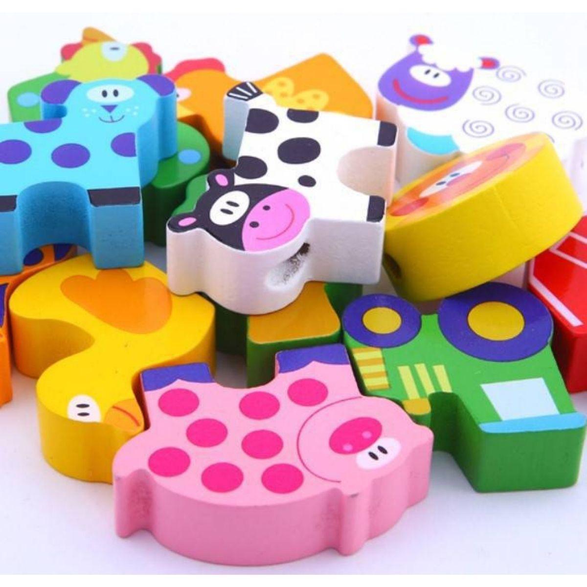 Brinquedo Educativo Lúdico Blocos de Laço Fazenda