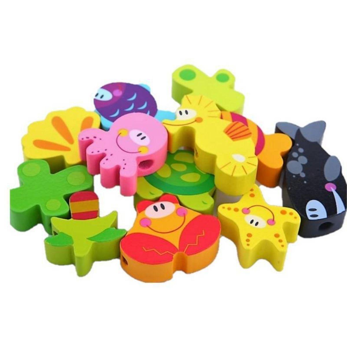 Brinquedo Educativo Lúdico Blocos de Laço Mar