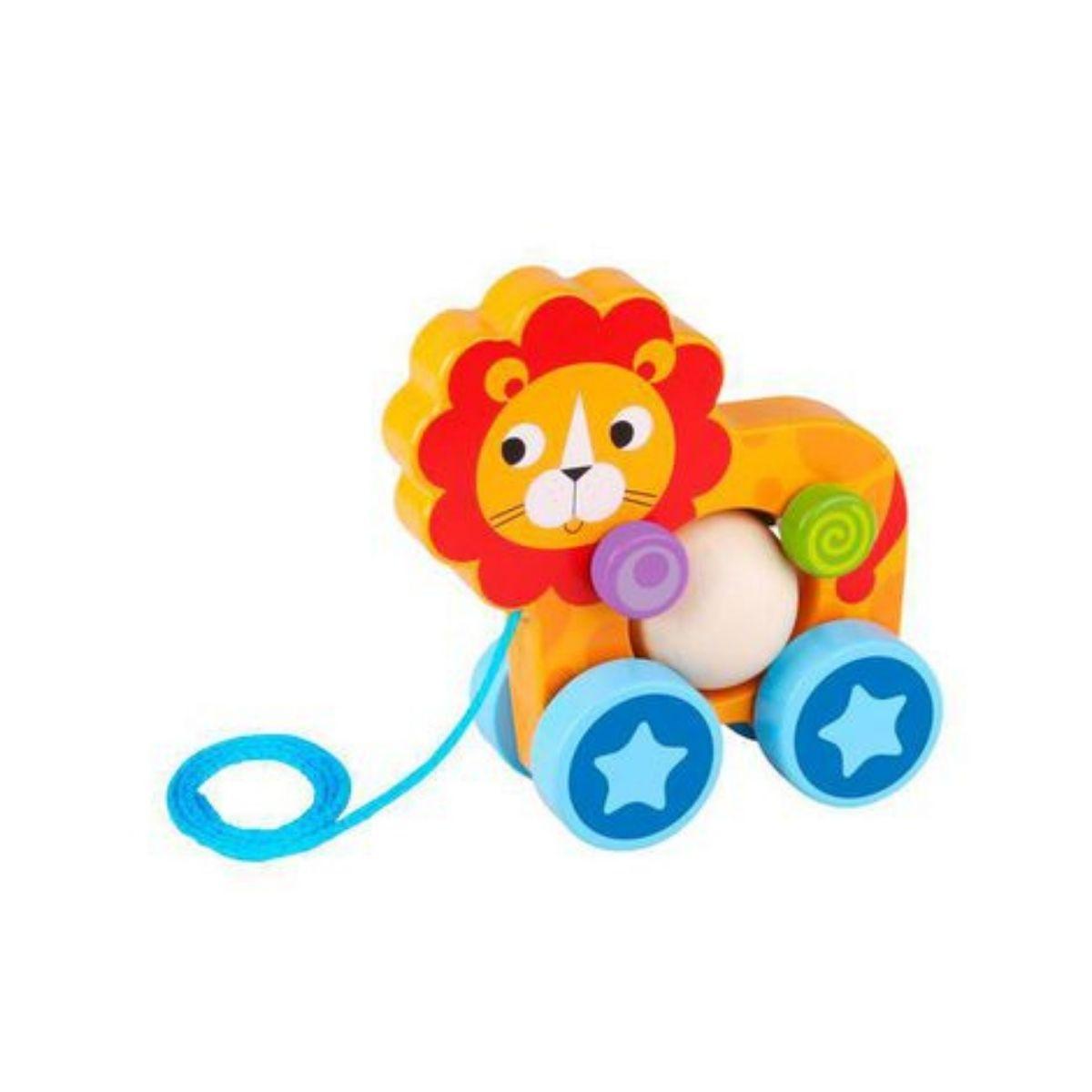Brinquedo Educativo Lúdico De Madeira Leão De Puxar