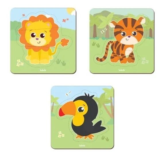 Brinquedo Educativo Montessori Quebra Cabeça Baby - Tigre