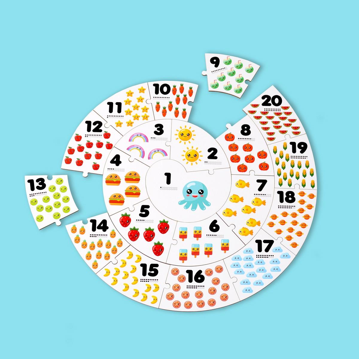 Brinquedo Educativo Montessori Quebra Cabeça Conte Ate 20