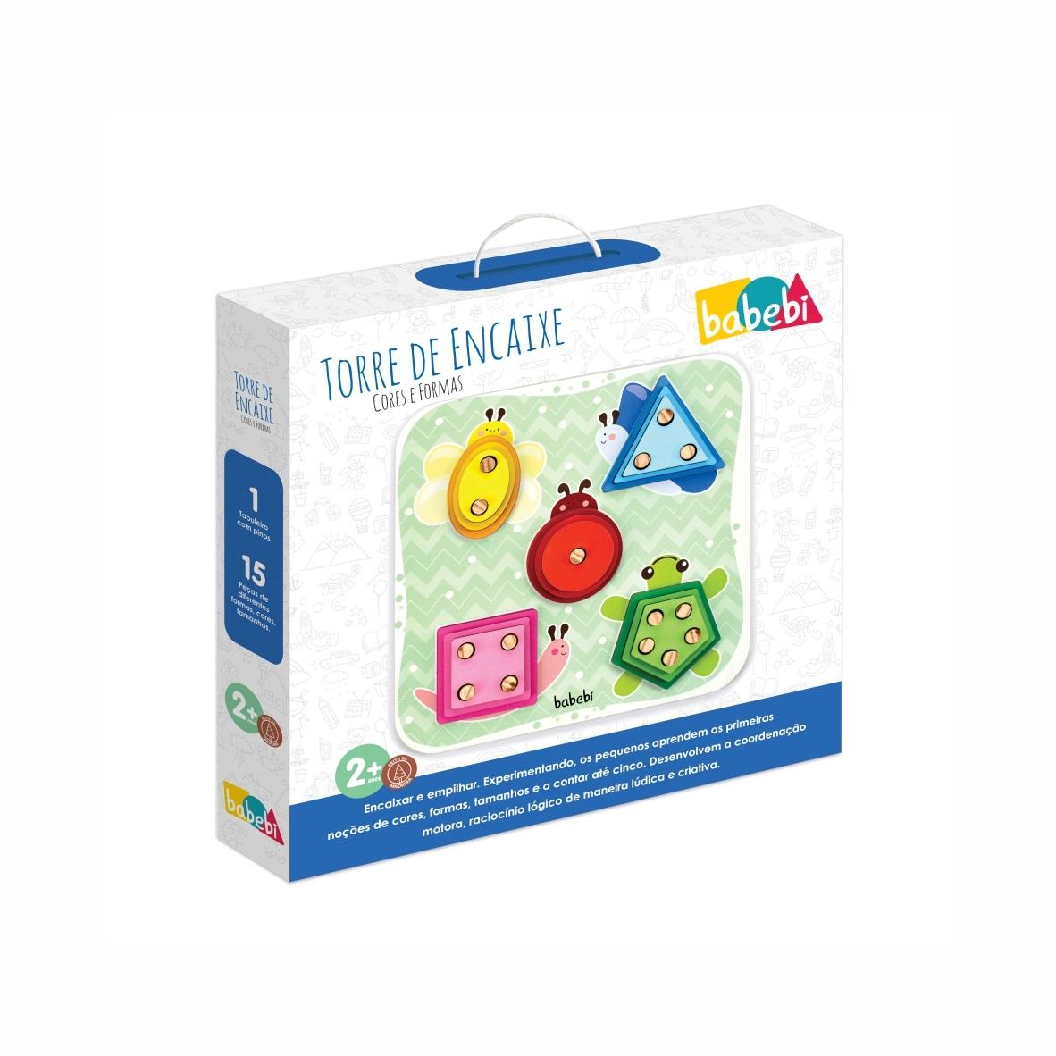 Brinquedo Educativo Montessori Torre De Encaixe Cores E Formas