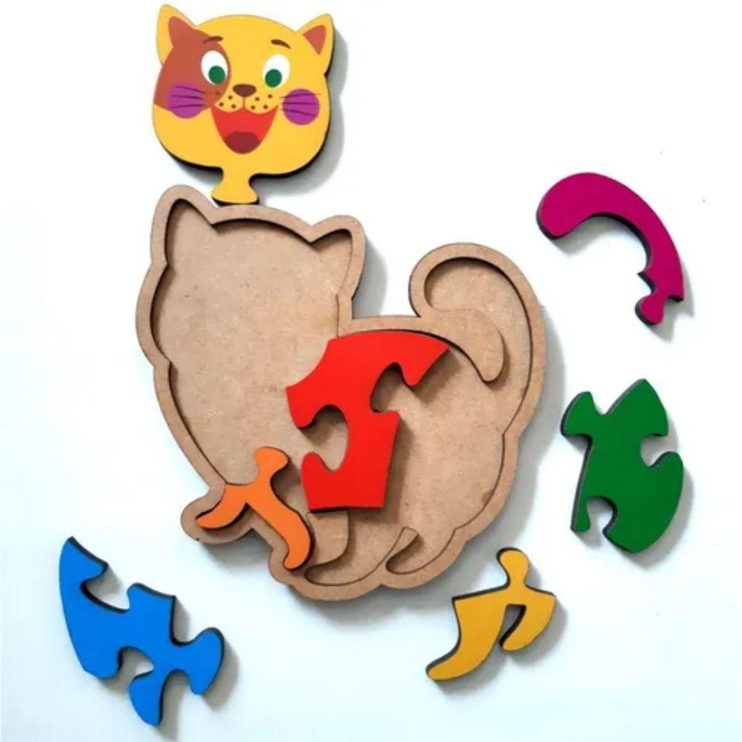 Brinquedo Educativo Quebra-Cabeça Infantil - Gatinho