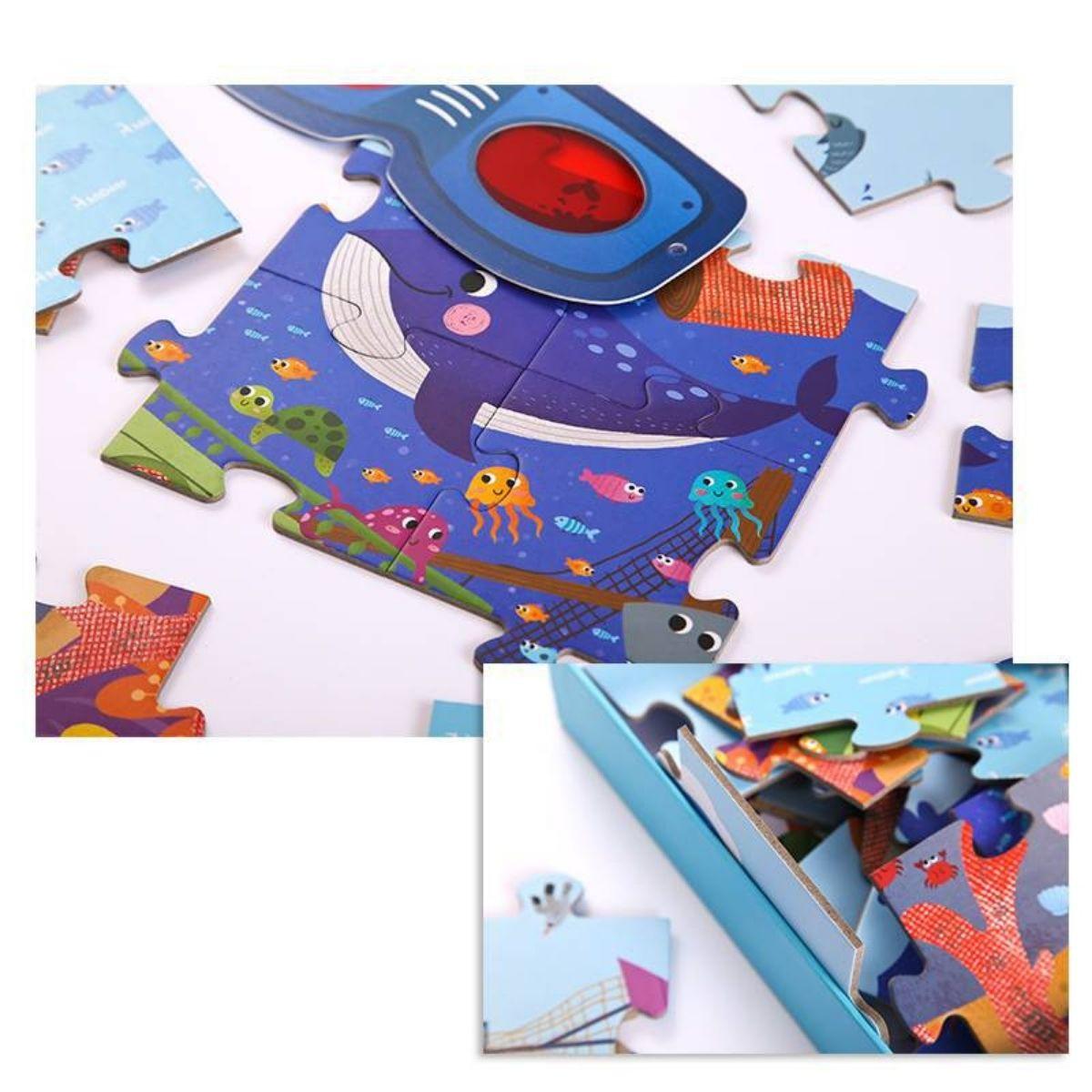 Brinquedo Educativo Quebra Cabeça Secreto Oceano