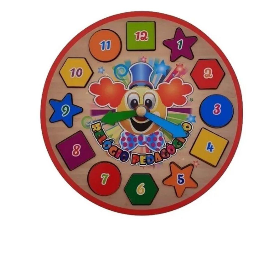 Brinquedo Educativo Relógio Pedagógico Infantil Colorido 3 Anos