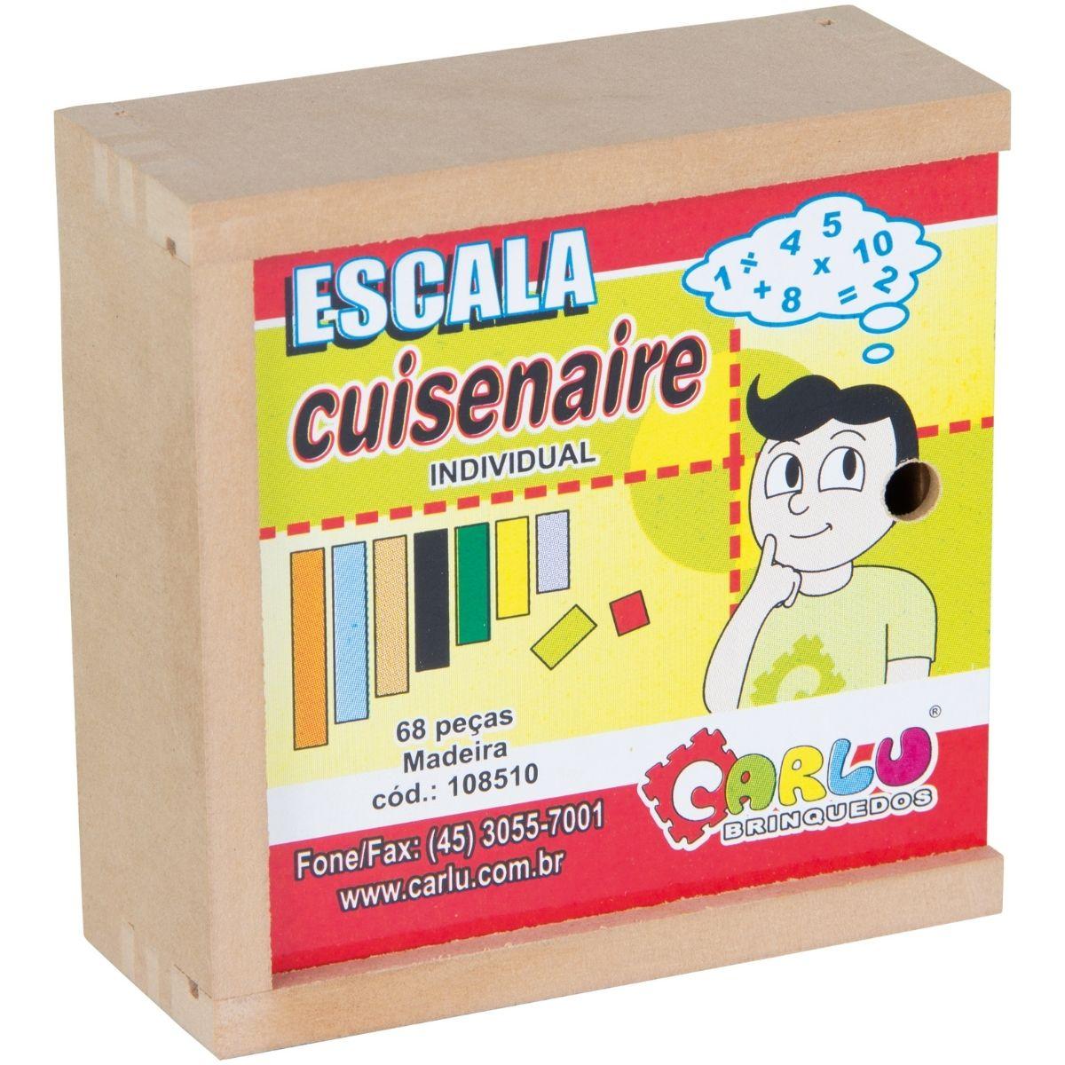 Brinquedo Escala Cuisenaire Individual - Madeira - 68 peças - Educação Pedagógica