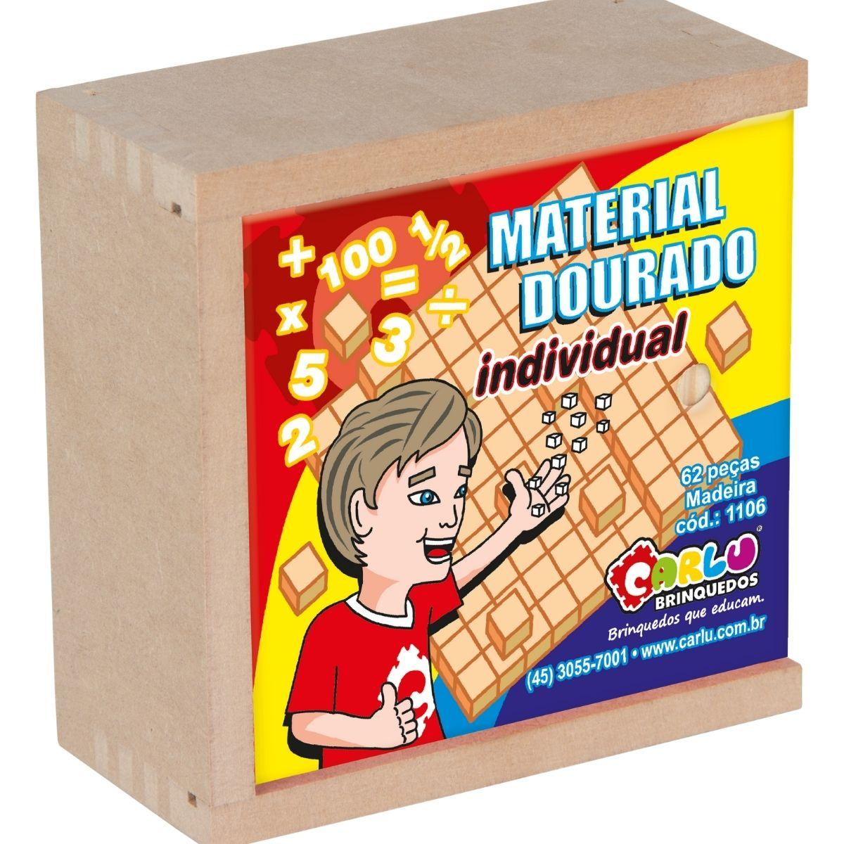 Brinquedo Material Dourado Individual em Madeira - 62 peças