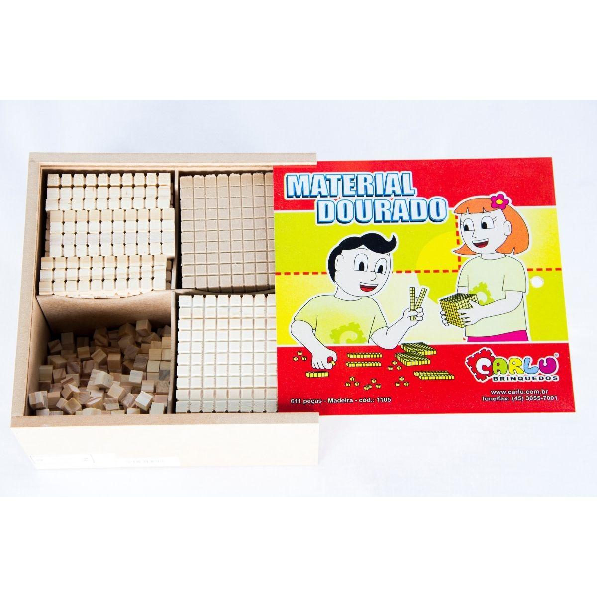 Brinquedo Material Dourado Madeira - 611 peças