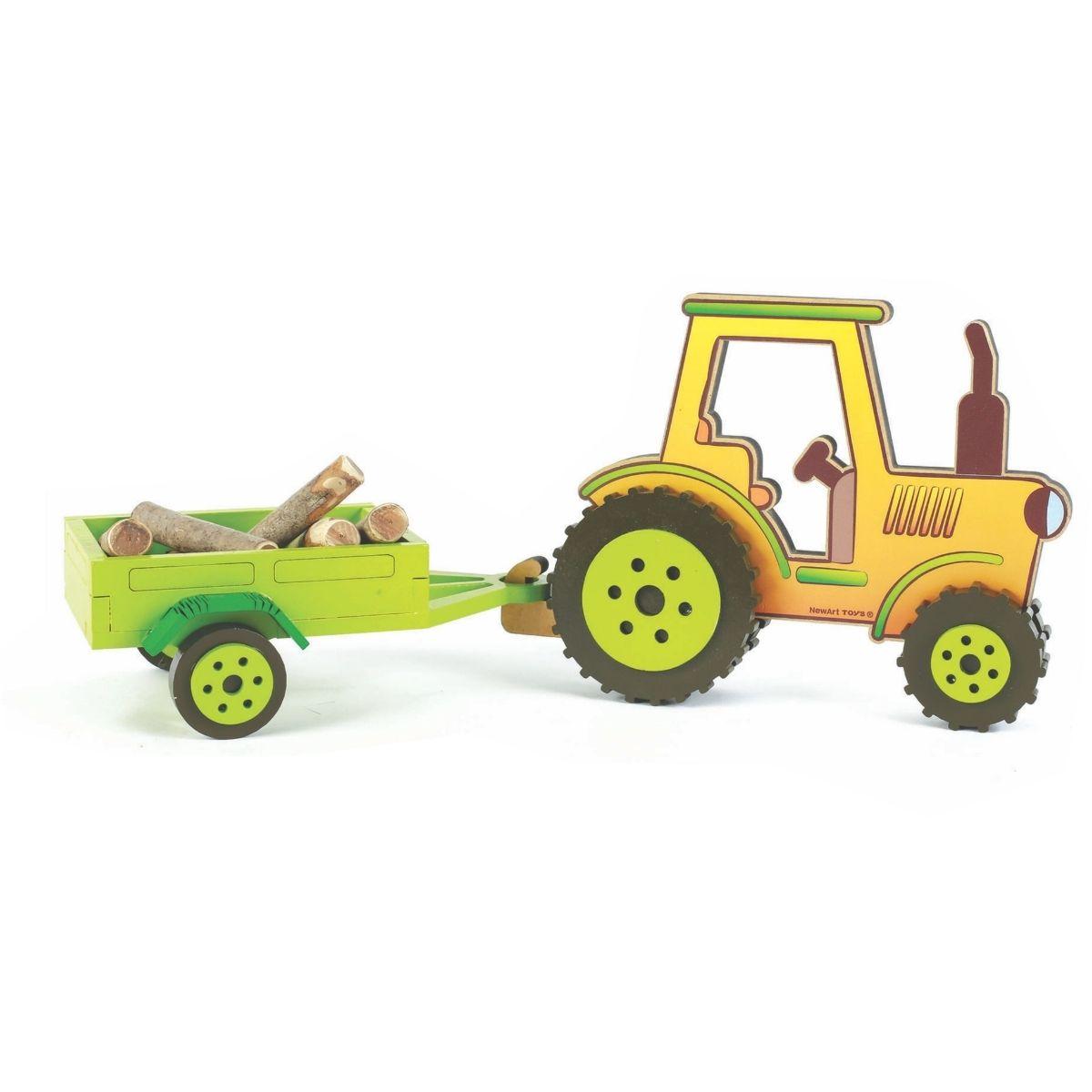 Brinquedo Montessori Coleção Fazendinha Trator Com Carretinha