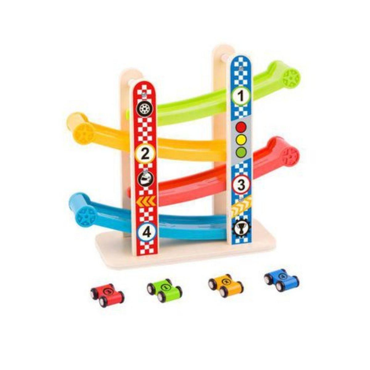 Brinquedo Montessori De Madeira Super Torre De Carros
