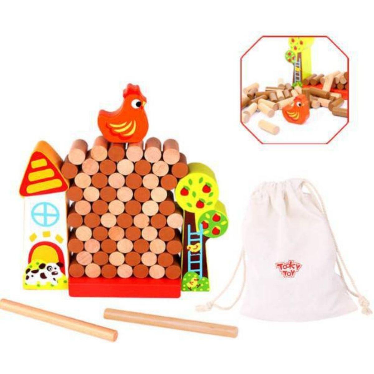 Brinquedo Montessori Educativo Jogo Jenga Fazendinha