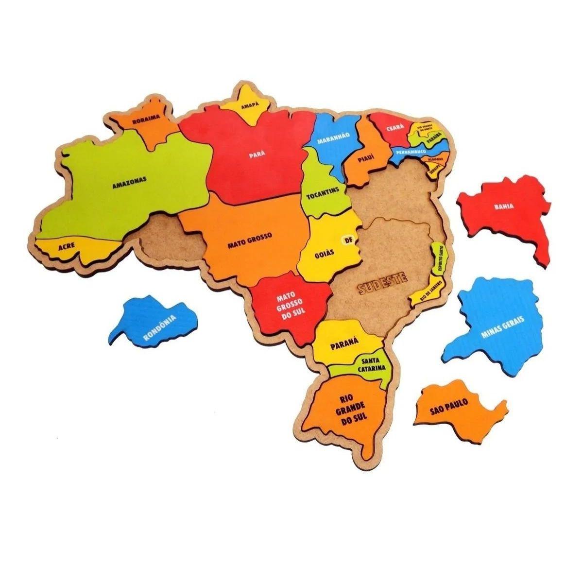 Brinquedo Quebra Cabeça Infantil Mapa Do Brasil Em Madeira