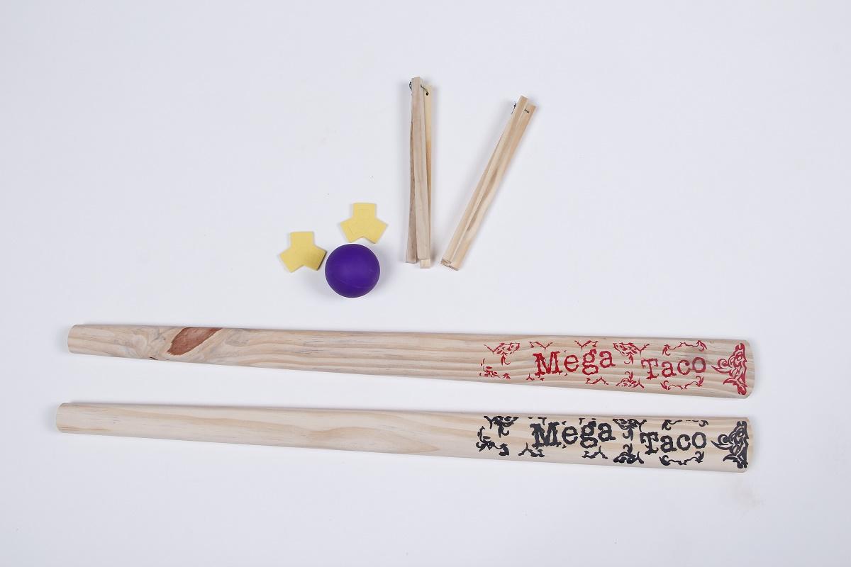 Brinquedo Taco de Beats em Madeira - 1 par - 5 peças