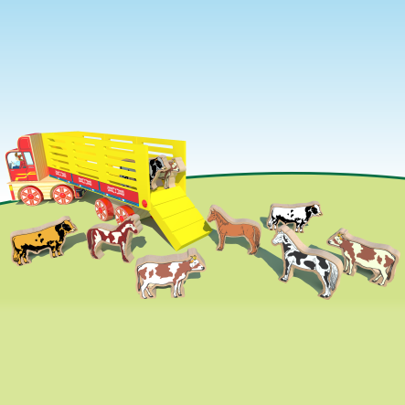 Caminhão De Brinquedo Transporte Animais Caminhão Boiadeiro MDF