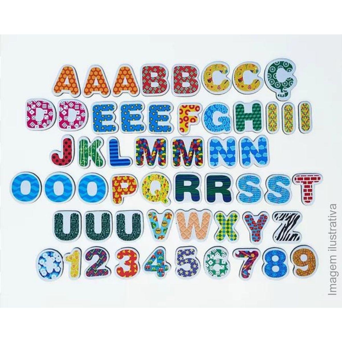 Coleção Letras E Números Imã Geladeira E Lousa Montessori 5cm