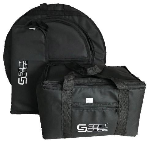 Combo - Capa Pedal Duplo Bateria+baqueta+prato Soft Case  Almofadada