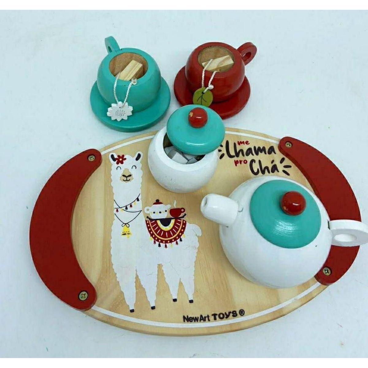 Kit Chá Comidinha de Brinquedo de Madeira