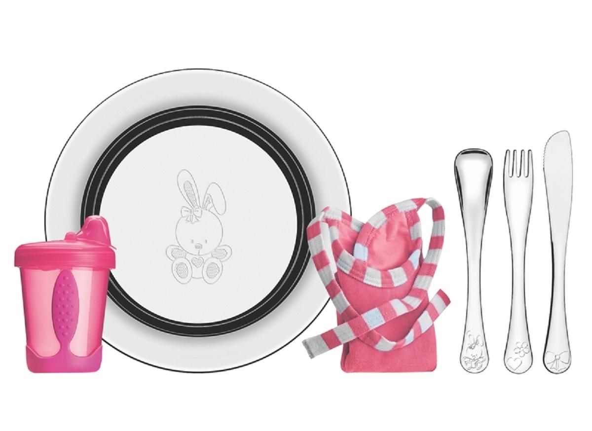 Kit Infantil Tramontina Le Petit para Refeição Rosa em Aço Inox 6 Peças