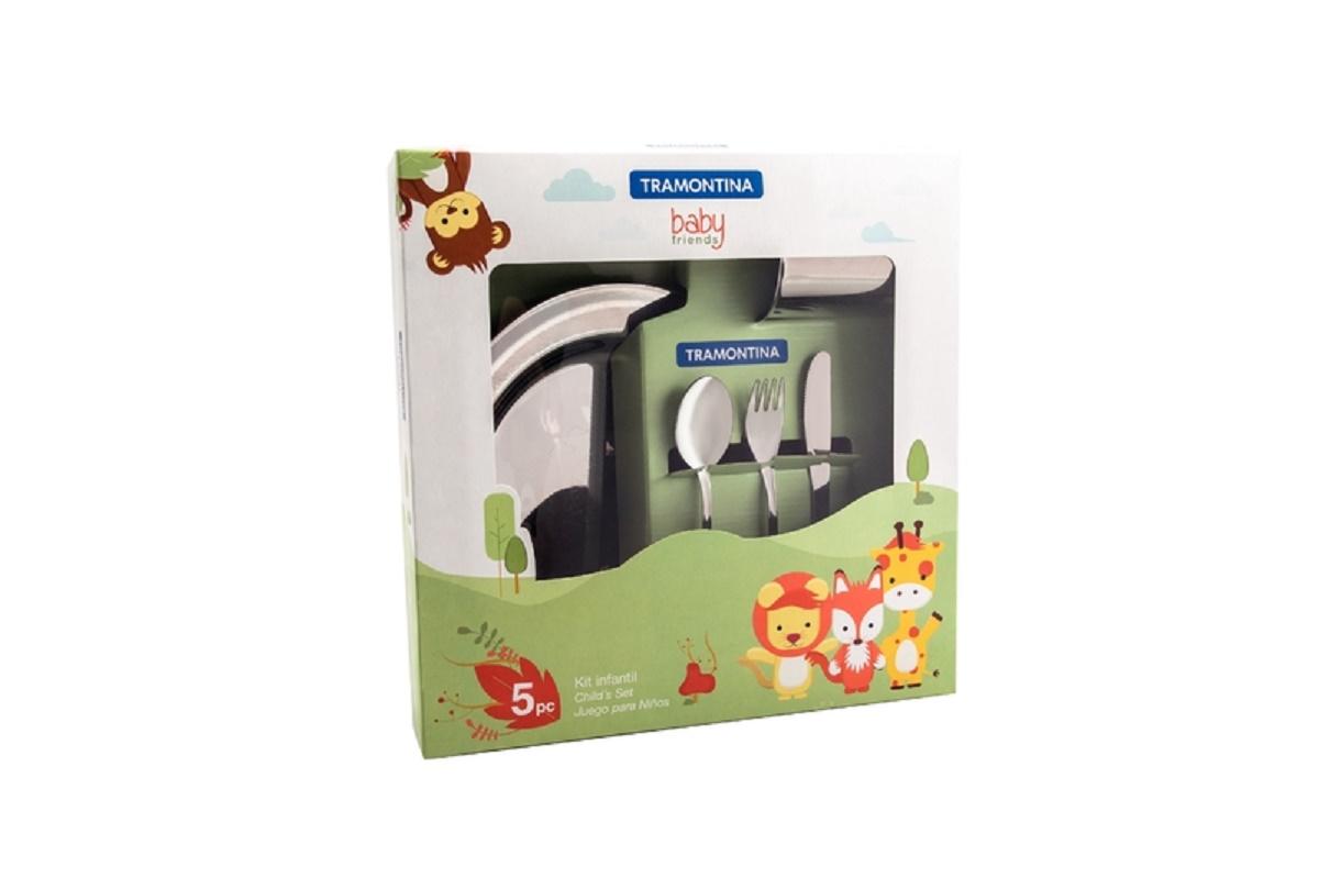 Kit Infantil Tramontina  para Refeição em Aço Inox 5 Peças