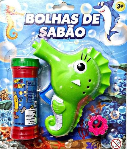 Lança Bolhas De Sabão Brinquedo Banho - Cavalo Marinho Verde