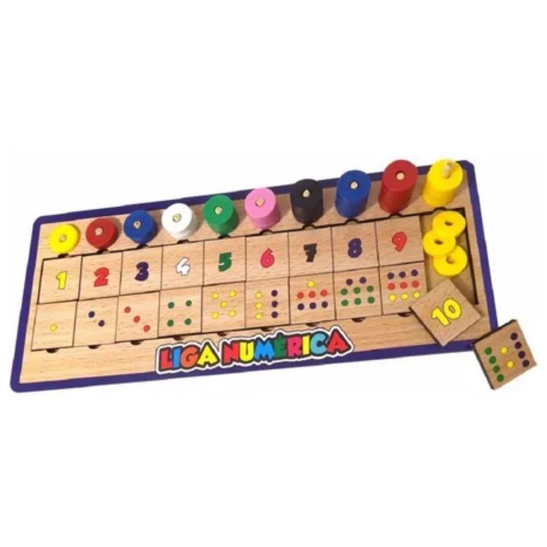 Liga Numérica Brinquedo Pedagógico - Madeira - Colorido