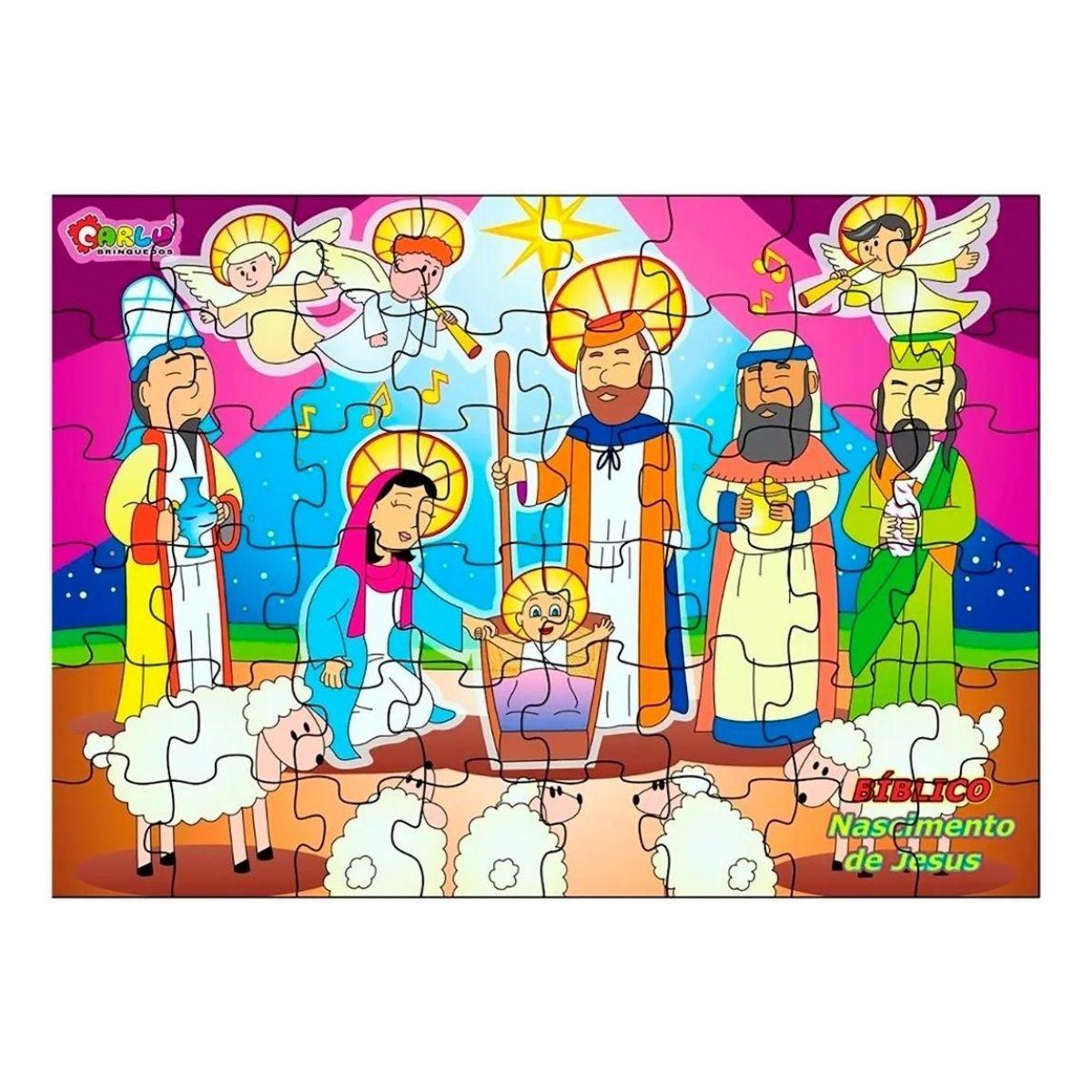 Quebra Cabeça Bíblico Nascimento de Jesus - MDF - 48 peças