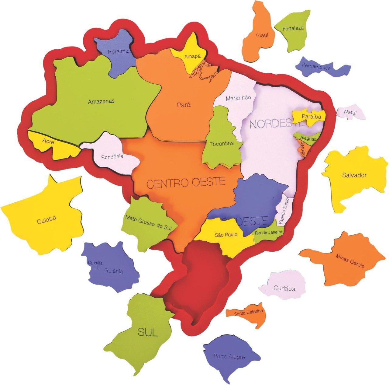 Quebra Cabeça Mapa Do Brasil Educação Pedagógica Mdf