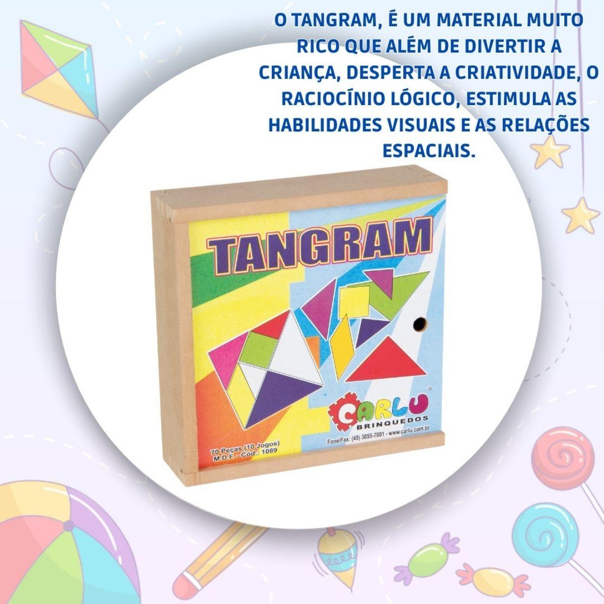 Brinquedo Educativo Tangram Madeira 70 Peças Caixa Mdf