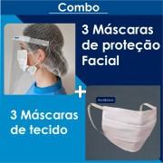 Combo - Máscara de proteção facial uso PROFISSIONAL + 3 Máscaras de tecido