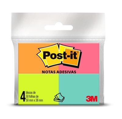 Bloco Adesivo Post it - 4 blocos 38 x 50mm - 50 folhas cada