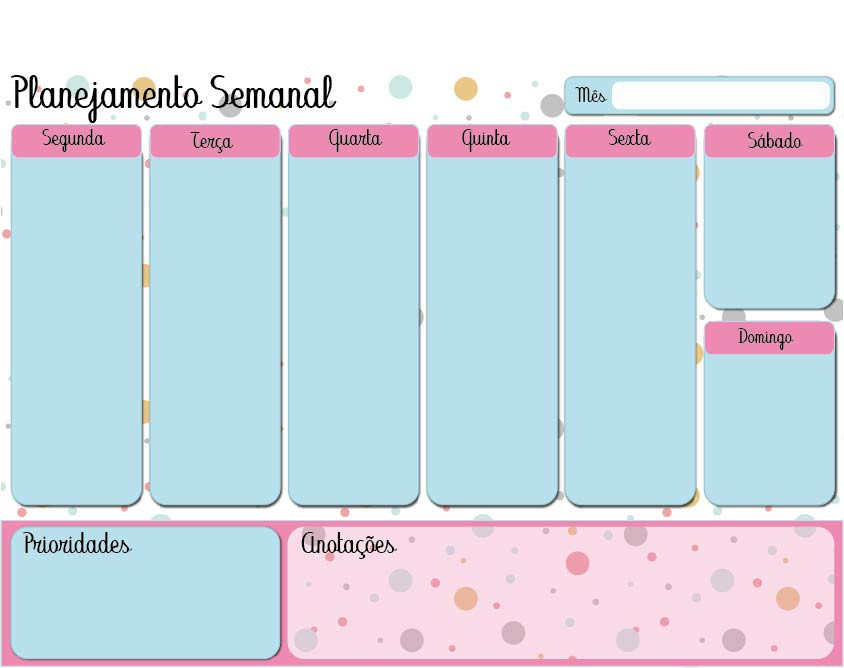 Lousa magnética Planner Semanal - Colors