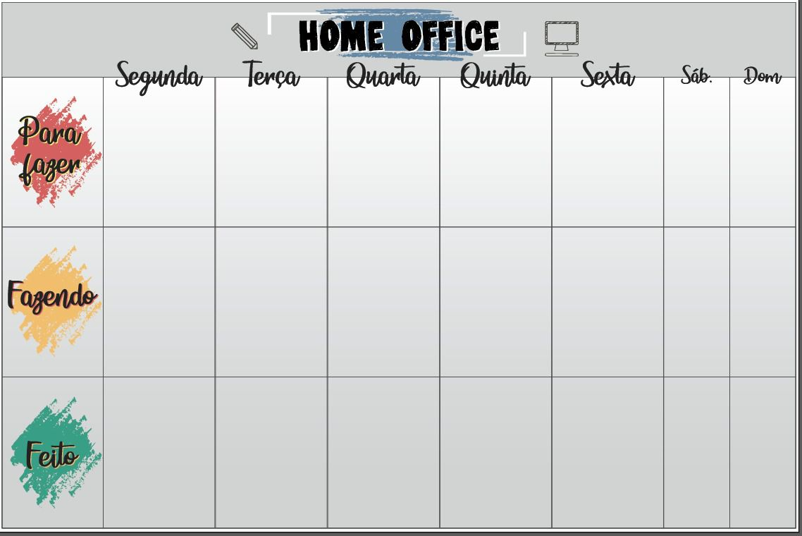 Quadro FLEXÍVEL - Home Office Planner  40x 60cm