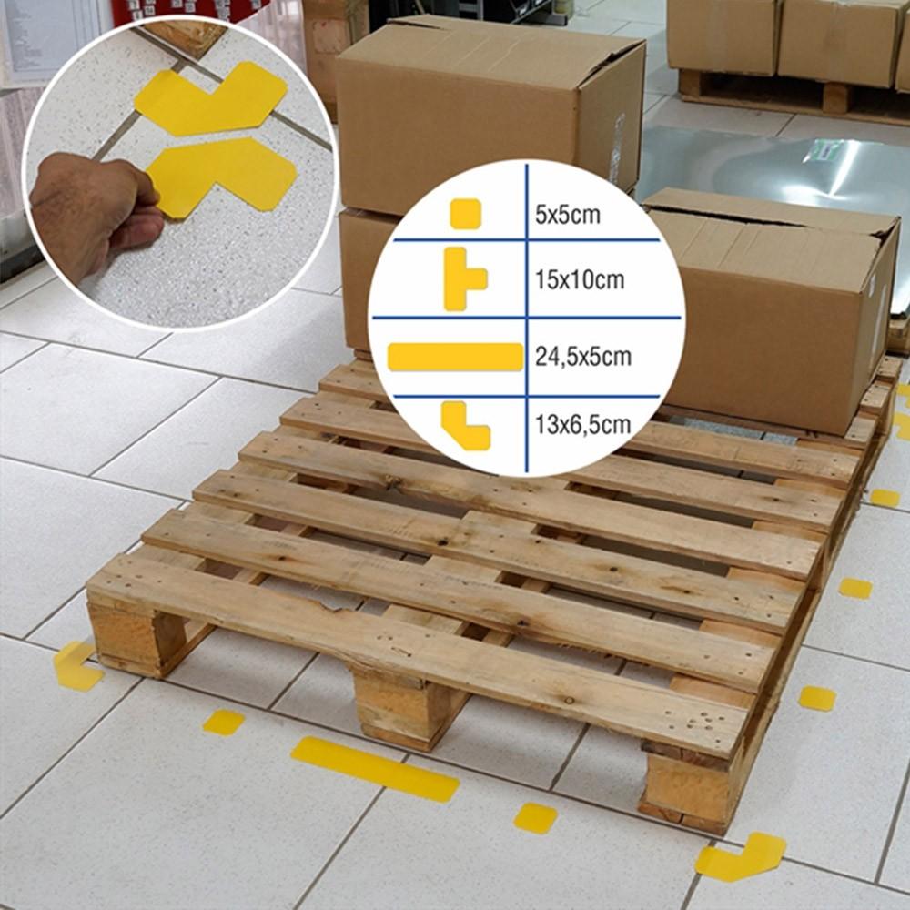 """Demarcador de Piso Formato """"T"""" - Cartela c/ 5 unidades - Isoflex"""