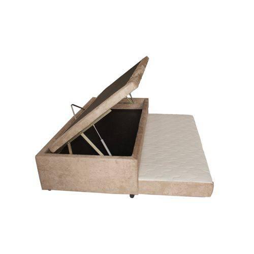 Cama Box Baú 3 em 1 c/ Auxiliar em Chenille