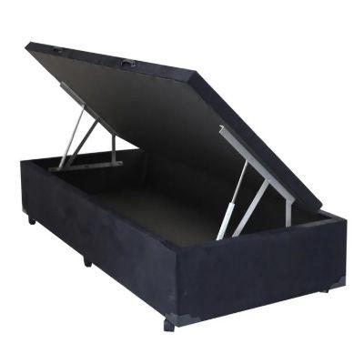 Cama Box Baú c/Pistão - Suede preto
