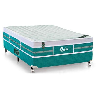 Cama Box Com Colchão Castor Gold Star Green New One Face Com Molas Pocket