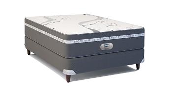 Cama Box Com Colchão de Casal Simmons WBx Oxygen com Molas Ensacadas