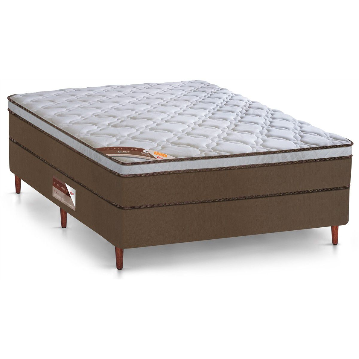 Cama Box Com Colchão King  Size Castor Revolution Com Molas Pocket