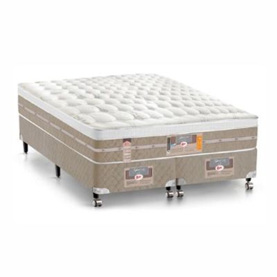 Cama Box Com Colchão King  Size Castor Silver Star Air One Face Com Molas Pocket