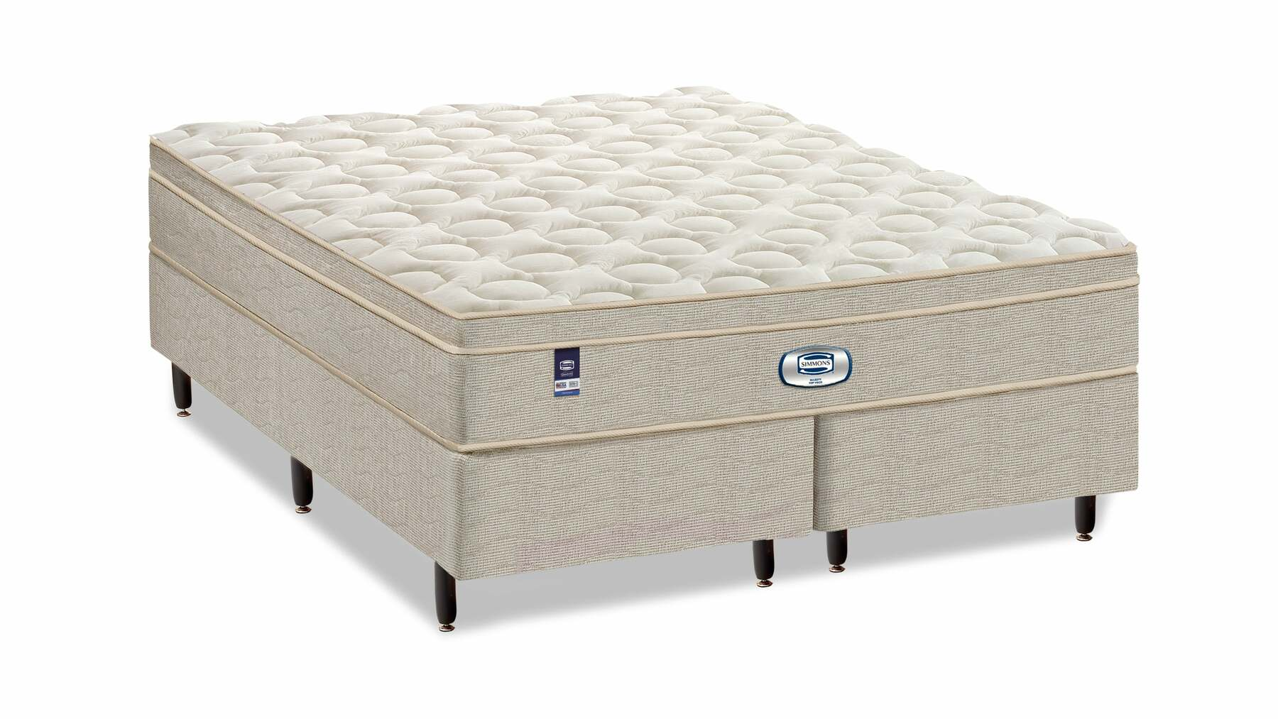 Cama Box Com Colchão King Size Majesty Simmons com Molas Ensacadas