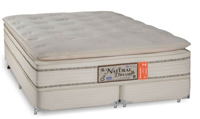 Cama Box Com Colchão King Size Sankonfort Natural Dreams Com Molas Ensacadas 3X Action