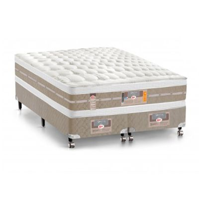 Cama Box Com Colchão Queen Size Castor Silver Star Air Double Face Com Molas Pocket