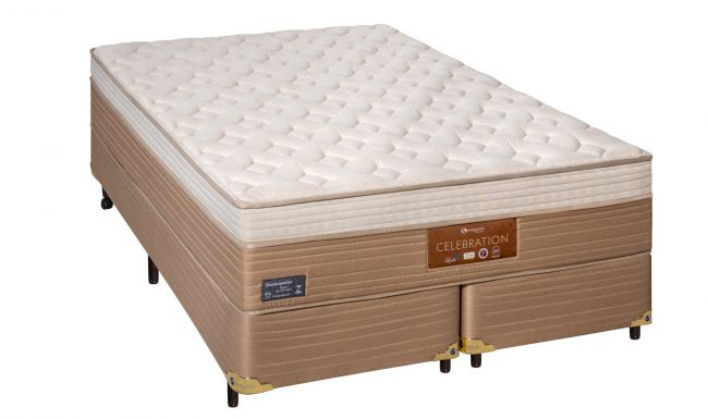 Cama Box Com Colchão Queen Size Sankonfort Celebration Com Molas Ensacadas