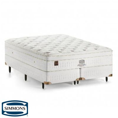 Cama Box Com Colchão Queen Size Simmons Soho Ultra Plush com Molas Ensacadas