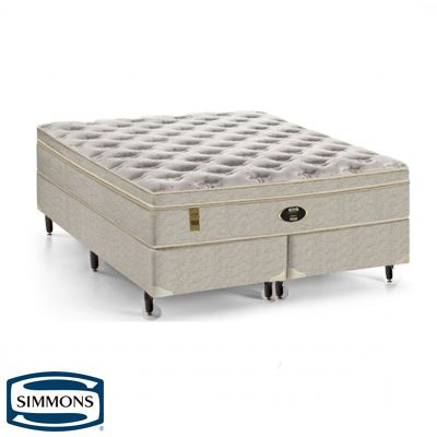 Cama Box Com Colchão Queen Size Sunset Látex Simmons com Molas Ensacadas