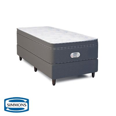 Cama Box Com Colchão Solteiro Simmons Bamboo Celebrating 10 Years com Molas Ensacadas