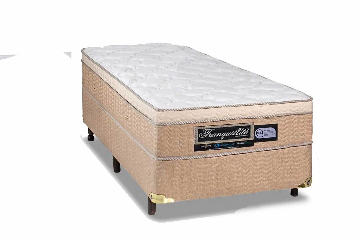 Colchão  + Box da Sankonfort de Molas Pocket Tranquillite One Side Solteiro