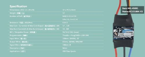 45081 - Esc Brushless 12a Xc1210ba Dual Sky