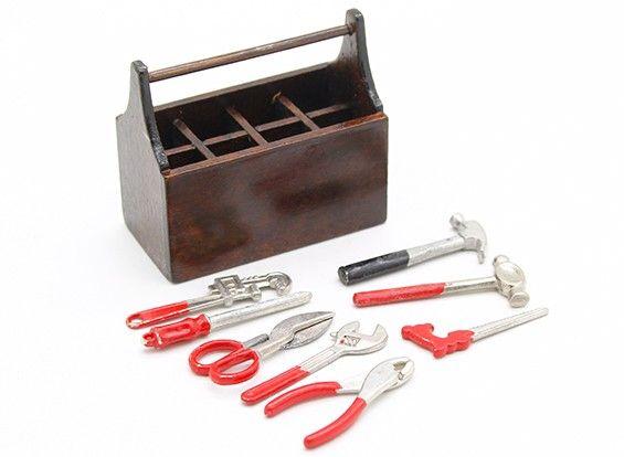 77689 - Tool Box de madeira com ferramentas Escala 1/10